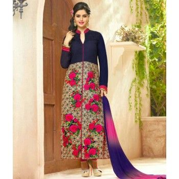 Poly Cotton Multicolour Floral Print Semi Stitched Straight Suit - R3