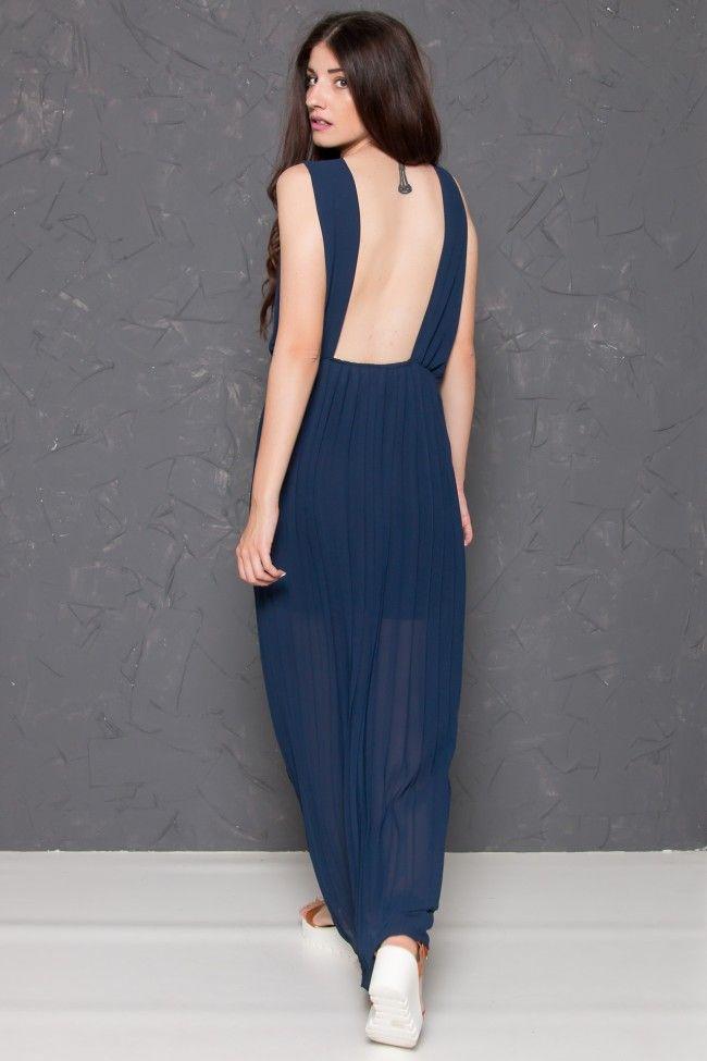 Open Back Pleated Maxi Dress