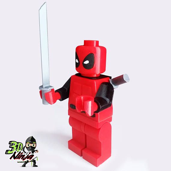 Giant Lego Deadpool Superhero Figurine | 3D Printed | Made in the USA | Marvel Deadpool | lego minifigure | superhero | deadpool figurine | DC Comics | Deadpool | Lego | Marvel