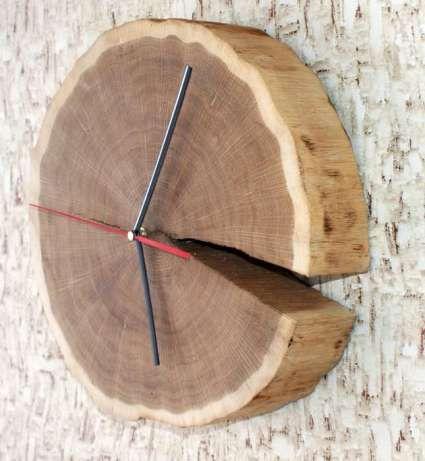 Dębowy zegar wykonany z plastra drewna, wyjątkowa ozdoba Osiek - image 2