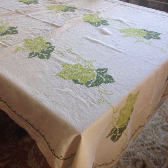 """Vintage Linen Kitchen Tablecloth-Cross Stitch Embroidery-Green Ivy-Rectangular -""""48""""by 64""""-Retro Kitchen-Repurpose-Embroidered Tablecloth"""