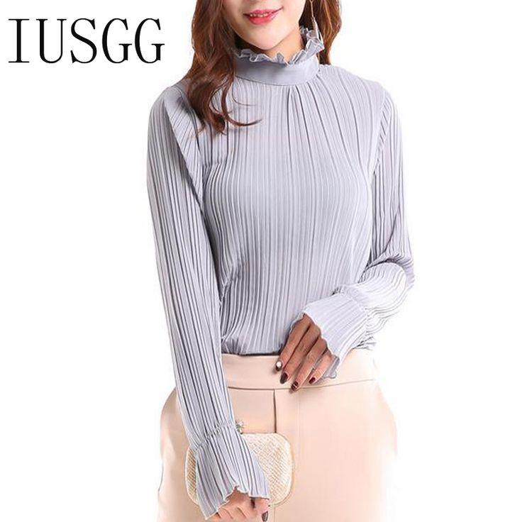 IUSGG Vintage Office Lady Chiffon Blouse Sweet Long Butterfly Sleeve High Collar Shirt Work Wear Silk One Piece Shirt Body Tops  #Affiliate