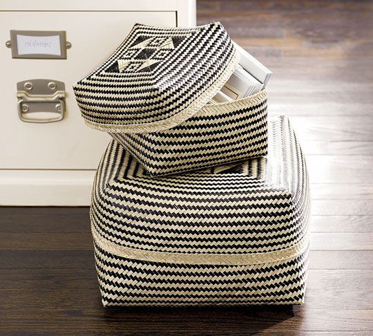 black and white modern pottery   Black and White Bamboo Baskets from Pottery Barn   Apartment Therapy