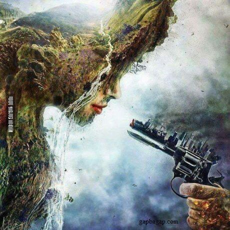 "Beautiful!I think this has a deep meaning, like tje ""girl"" thats ""crying"" represents mother nature, and the ""city"" on the gun shows the pollution  humans have done. I don't know about the hand do."