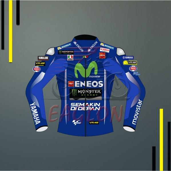 Valentino Rossi Yamaha Movistar Motogp 2017 Leather Jacket is separated from his Beautiful Blue Suit. Nine Times world champion is now ready to battle for his Tenth title this year...    Shop this Jacket at Eaglon Sports with fully custom options.