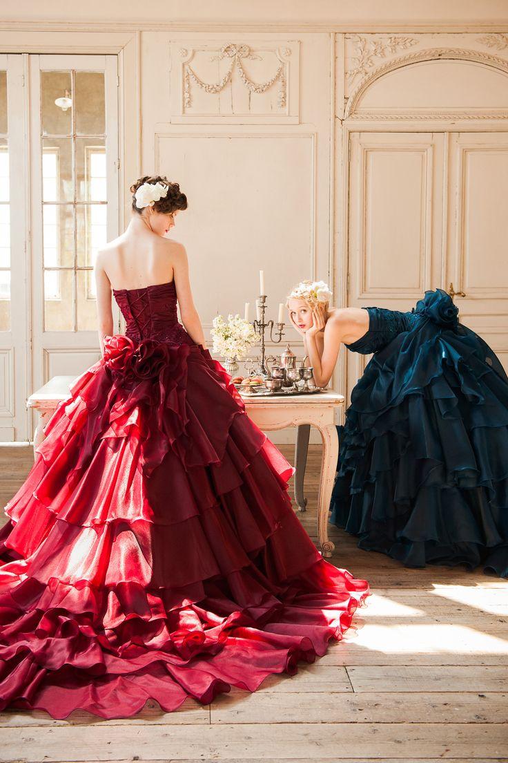 ワインのような深みのあるボルドーのドレス♡赤のカラードレス♡