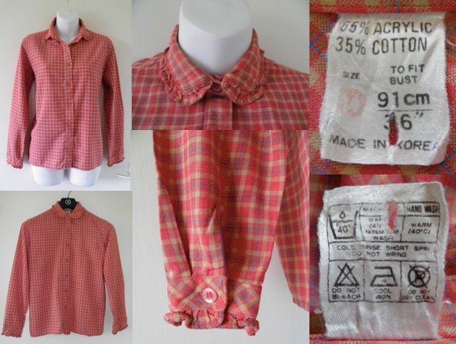 1940's / 1950's Vintage Red Plaid Gingham Checked Blouse Shirt Top 36 Bust 12 M Ladies Women's Retro 00.99