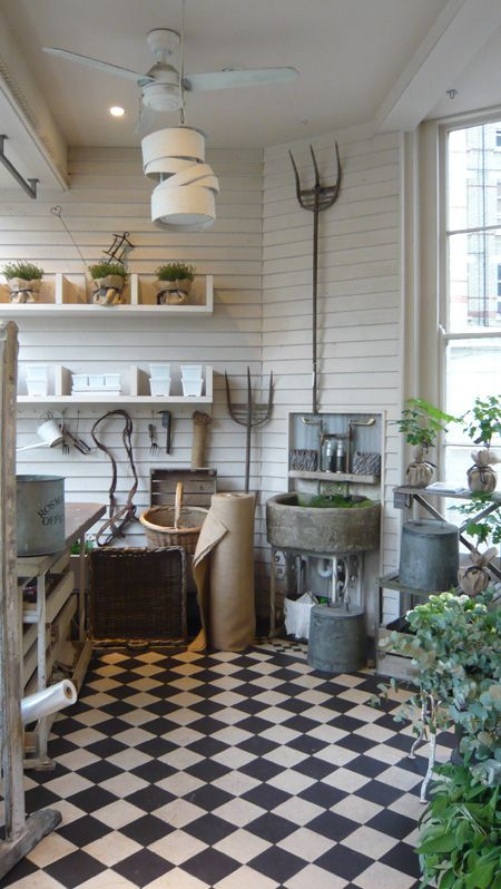 potting room with awesome floor