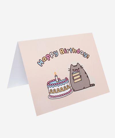 Pusheen Birthday card - Hey Chickadee