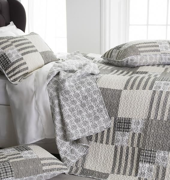 Hampton patchwork bedspread. Lovely rural charm with delicate floral touches and an understated colour palette, helping you to create a soft cosy atmosphere. 1
