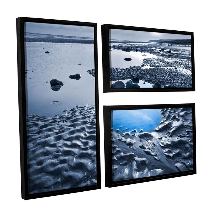 ArtWall Simon Kayne ' Dunes On Winchelsea Beach' 3-piece Floater Framed Flag Set