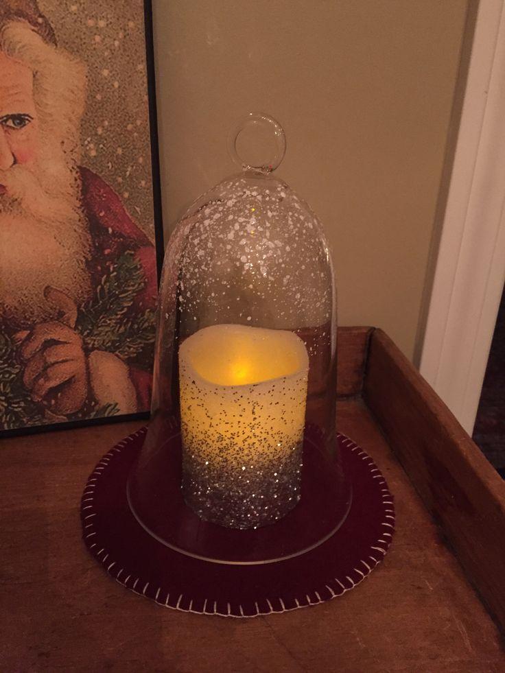 Glass Bell Jar Cloche w/ Glitter Flicker Pillar Candle & Red Wool Mat