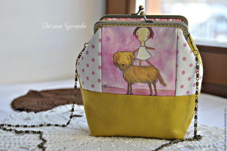 """Купить Сумка с фермуаром льняная """"Девочка с собачкой"""" - сумочка, сумка женская, сумка ручной работы"""