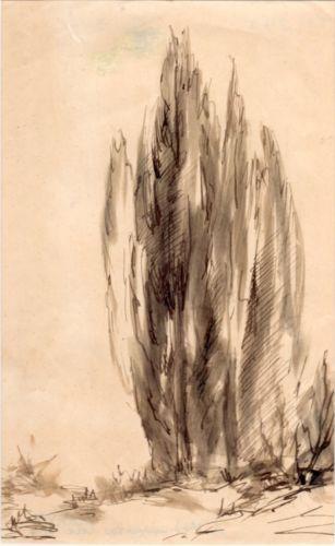 Cypress-Trees-Gorgeous-original-drawing-by-Greek-Melissarato-via-Galerie-Zygos