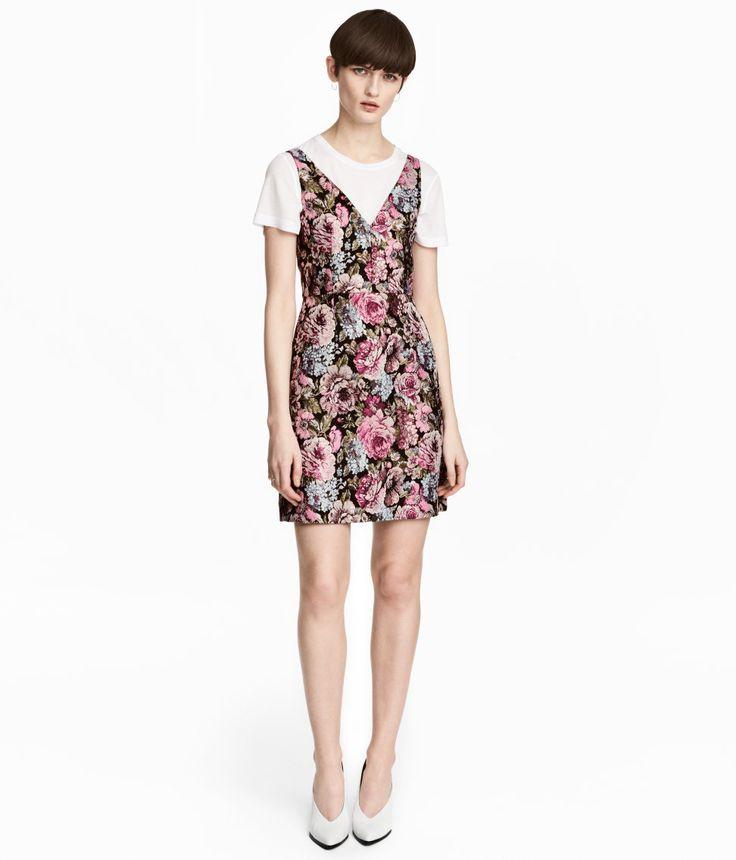Kleid aus Jacquardstoff | Schwarz/Geblümt | Damen | H&M DE