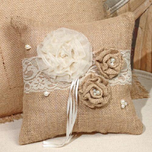 Small Rosettes & Pearls Burlap Pillow or Ring Bearer Pillow