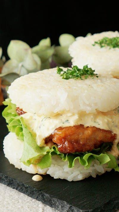 オクラネットで卵を搾り出すことで面倒なみじん切りがあっという間に! ライスバーガーでボリューム満点♡ 冷めても美味しいのでお弁当にも!