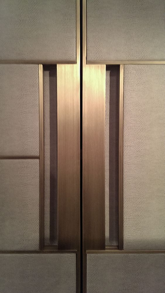 Cool Door wrap with leather and antiqued brass handle