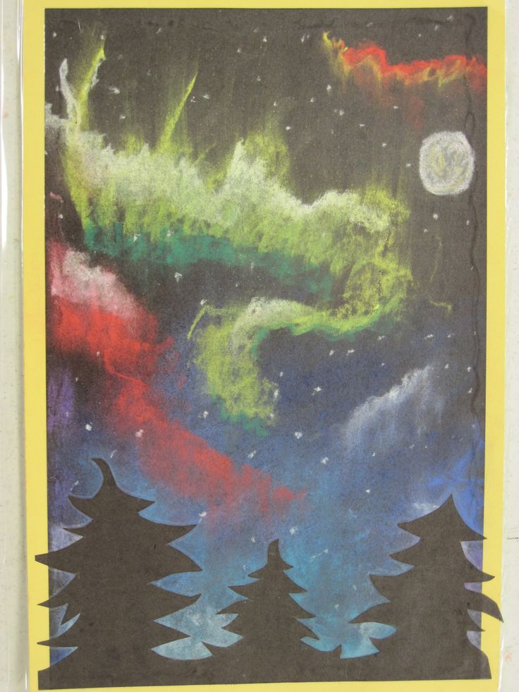 Northern Lights- chalk pastel with cut paper silhouette of conifer trees