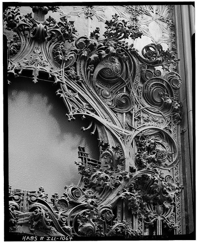 I remember the decorations on the Carson Pirie Scott building on State Street in Chicago by Louis Sullivan before CPS folded.  So surprisingly ornate.