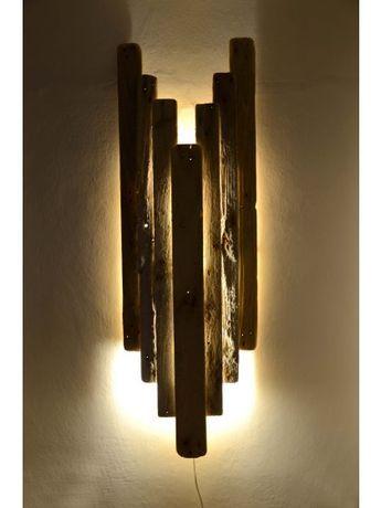 meerwertige Illumination, maritime Unikat-Leuchte aus Nordsee-Treibholz, Wandleuchte ANGEL, Exquisite Wohnleuchten aus Strandholz made in Schleswig-Holstein