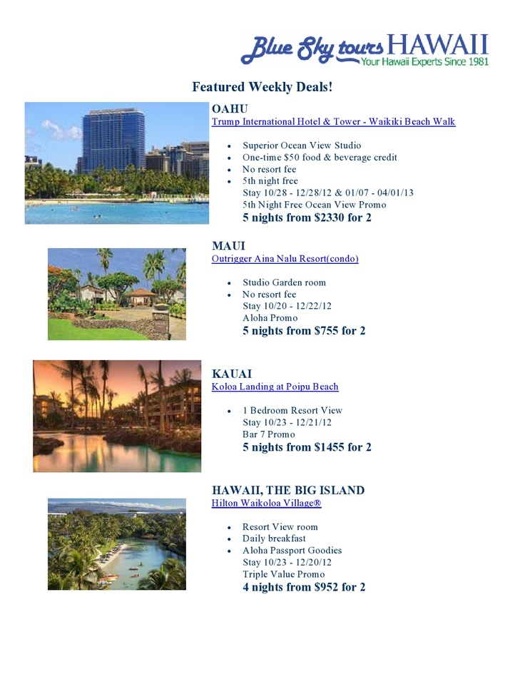 Vacation packages to #Hawaii starting from $755.00 for 2