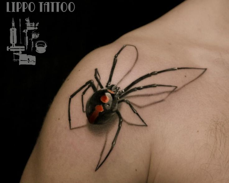Stunning 3-dimensional spider. Lippo Tattoo, Italy.Tattoo Ideas, Black Widow, 3D Tattoo, Santa Monica, Spiders Man, A Tattoo, Tattoo Design, Business Design, Blackwidow