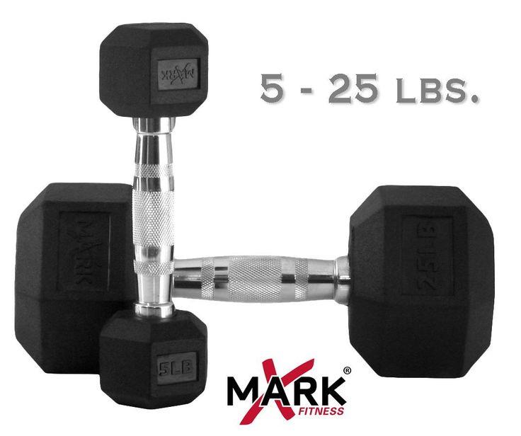 XMark 5 lb. - 25 lb. Rubber Hex Dumbbell Set