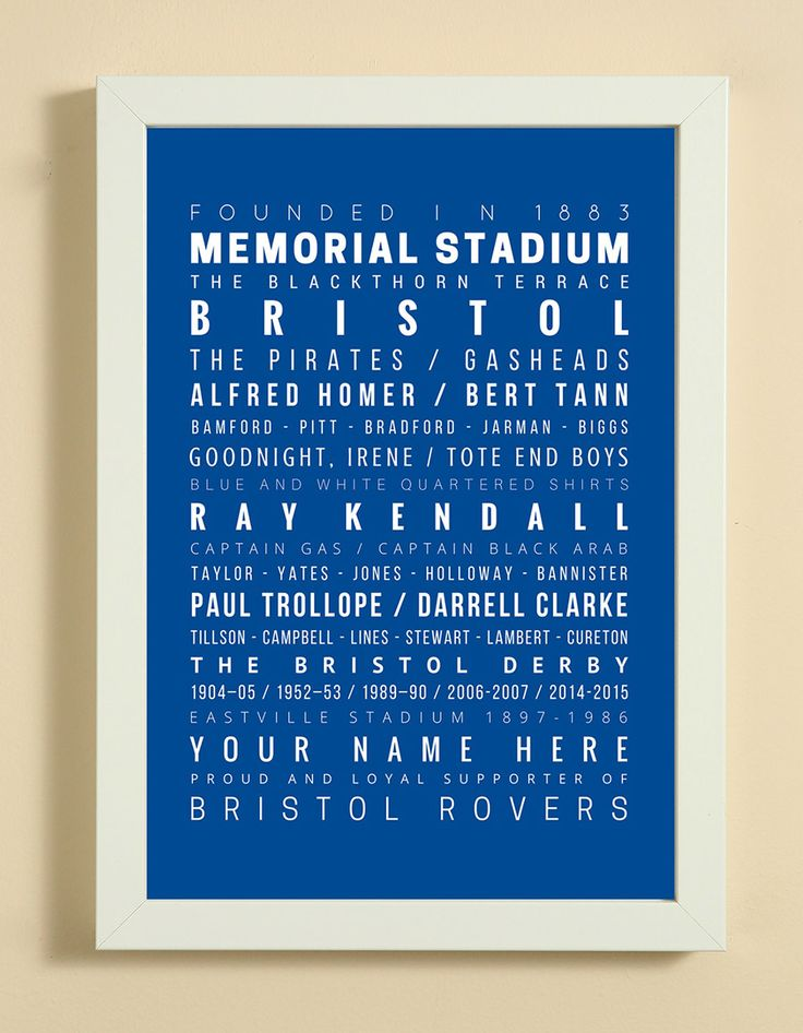 Bristol Rovers Football Club Word Art Design Print - Words, Names And Facts Associated With Bristol Rovers - In White Or Black A4 Box Frame