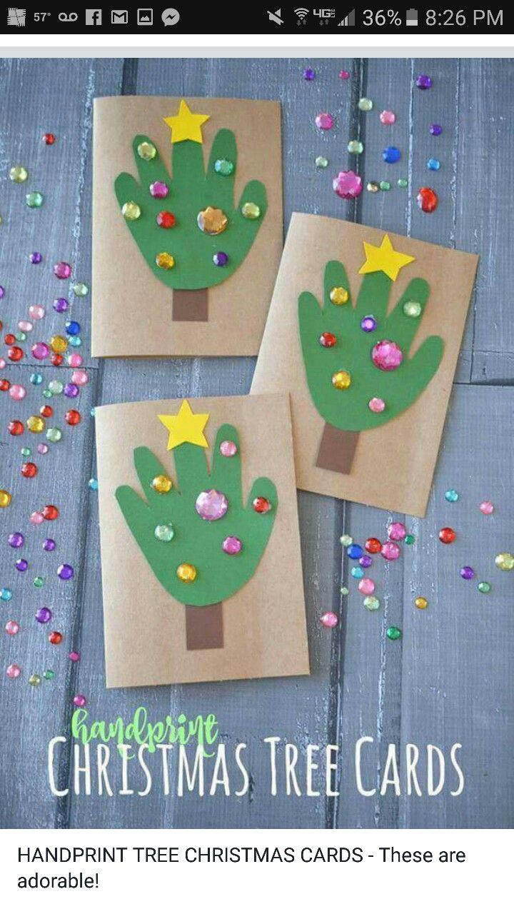 DIY Handprint Christmas Tree Cards lovely