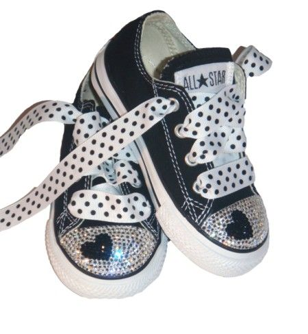 Swarovski Black Heart Bling Converse-Swarovski Black Heart Bling Converse Shoes,bling kids shoes,converse bling sneakers,bling baby shoes