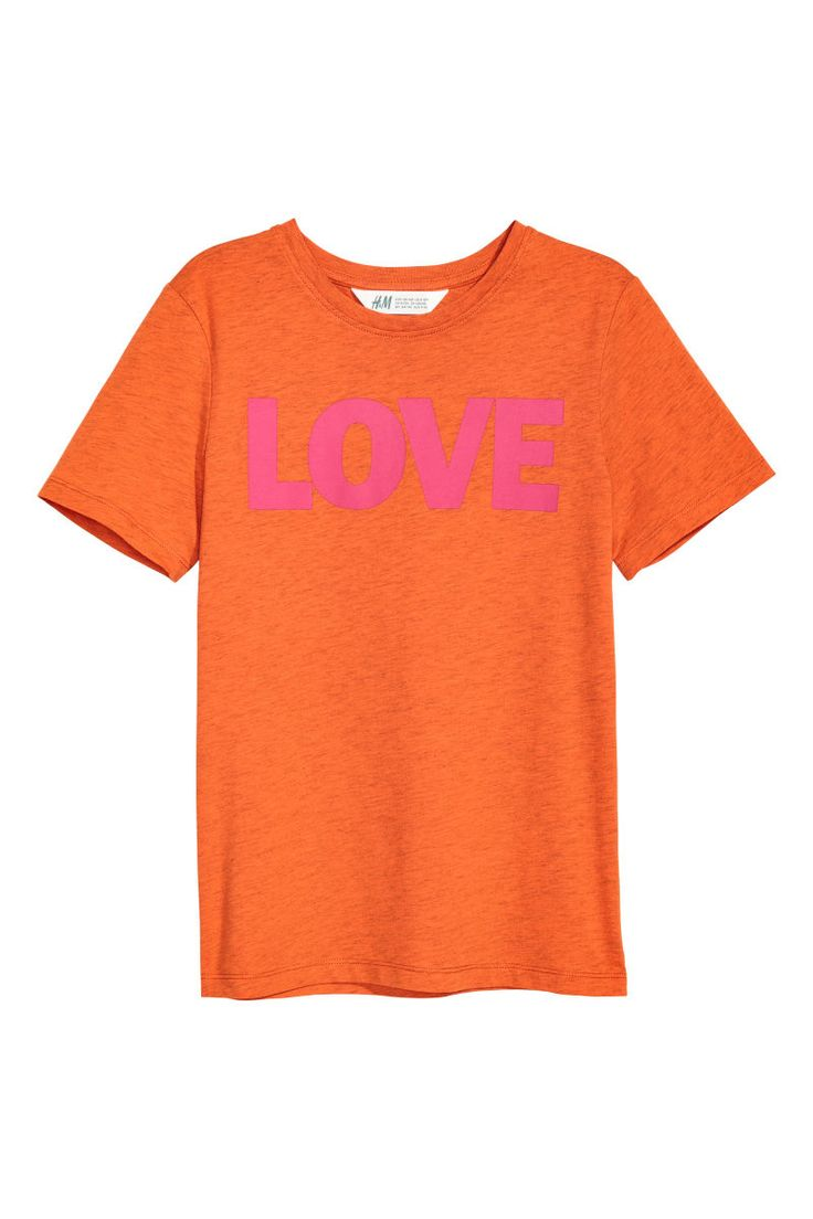 Orange/Love. Crew-neck T-shirt in soft cotton jersey with a printed motif at front.
