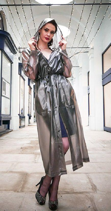 Gegürteter rauchgrauer PVC Regenmantel #RaincoatsForWomenClothing