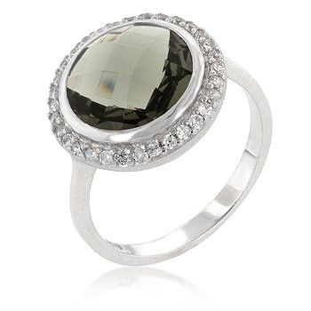 Genuine Rhodium Plated to .925 Sterling Silver Ring with a Faceted Round Cut Smokey Topaz Cubic Zirconia Center Stone and Round Cut Clear Cubic Zirconia Accents Polished into a Lustrous Silvertone Finish