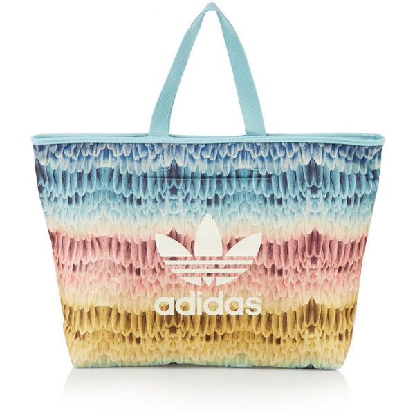 Adidas Originals Menire printed canvas tote (£21) ❤ liked on Polyvore featuring bags, handbags, tote bags, blue, handbags totes, white canvas tote bags, beach tote bags, zippered canvas tote bag und blue tote