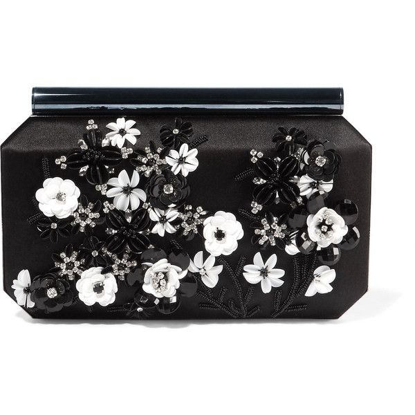 Oscar de la Renta Saya appliquéd satin clutch (124.985 RUB) ❤ liked on Polyvore featuring bags, handbags, clutches, black, satin clutches, oscar de la renta, evening purses, hard clutch and evening box clutch