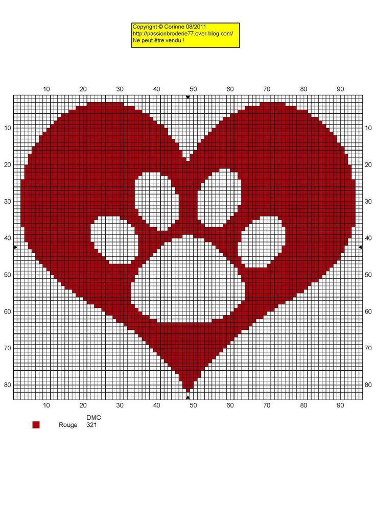 Pet paw heart cross stitch pattern