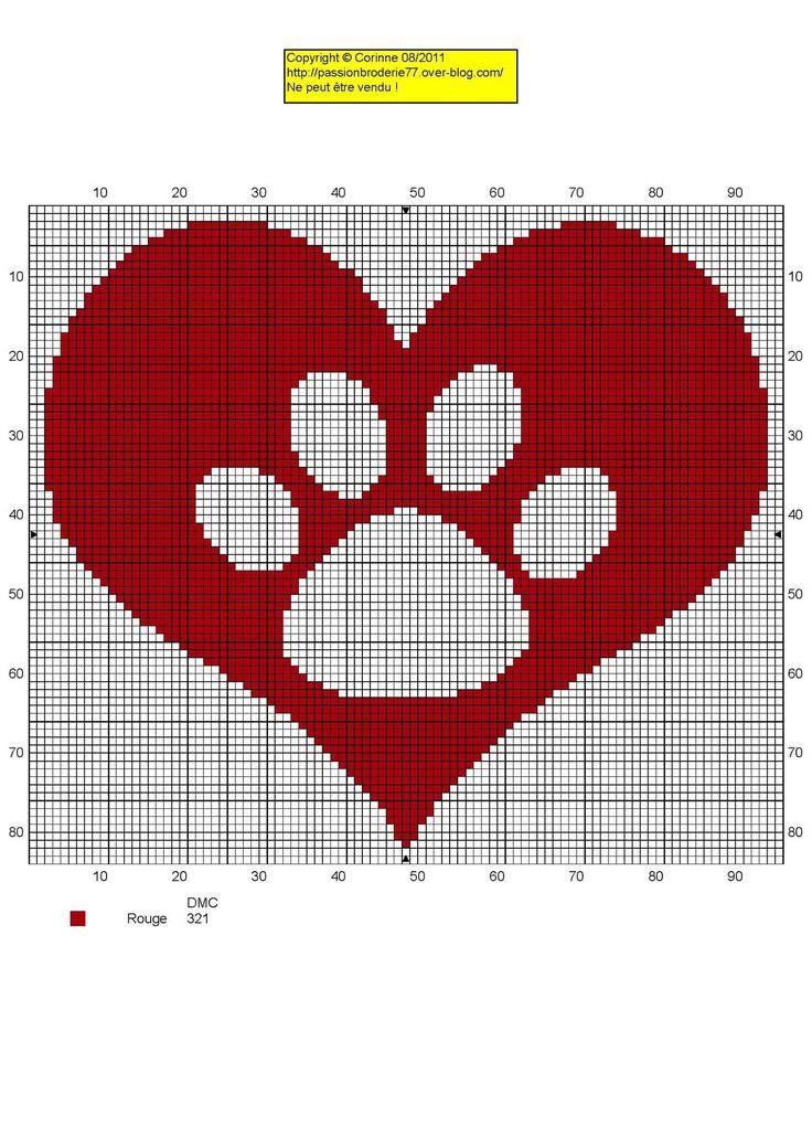 Pet paw heart cross stitch pattern / chat patte coeur grille point de croix
