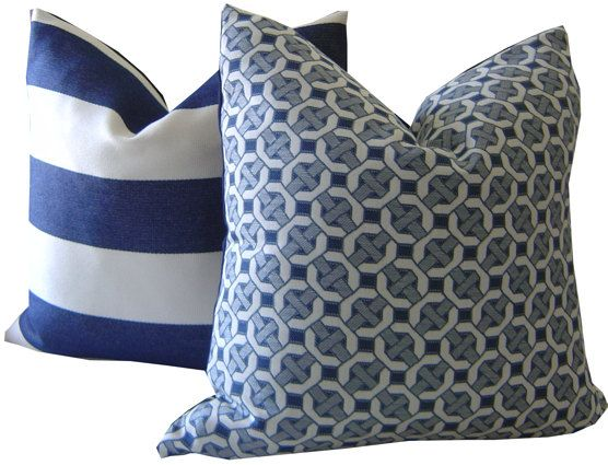 Sunbrella Outdoor Pillows / Front: Cane In Navy Paired With Sedona In Navy  And White
