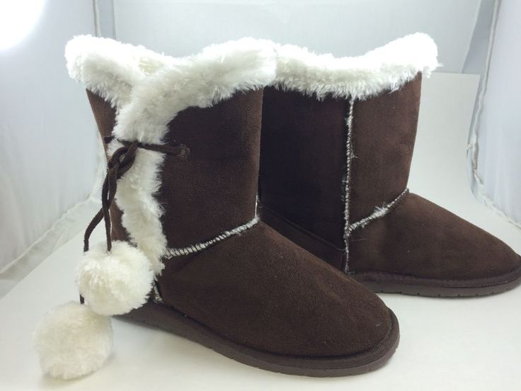 New DAWGS Women's Brown White Size 9M Tie Microfibre Boot SheepDawgs #SheepDawgs #MidCalfBoots #Any