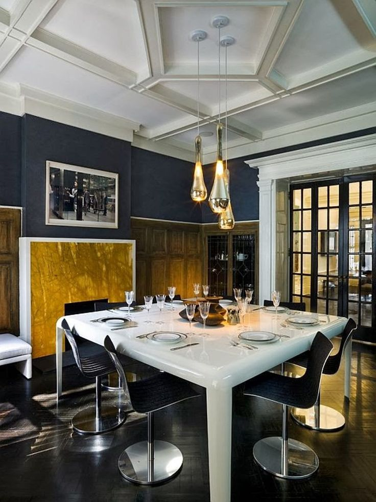 White Square Dining Table Paired With Armless Chairs Under Hanging Pendants In Contemporary Dining Room With Dark Grey Walls : The Right Dining Room Paint Colors To Setting The Mood