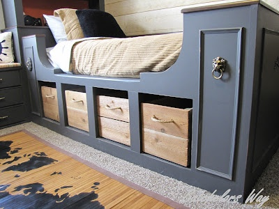 LOVE THE FINAL FINISH OF THIS + COLOUR WITH WHITE. COULD APPLY A PIECE OF PLY INFRONT OF BEDFRAME TO MAKE LOOK NEAT