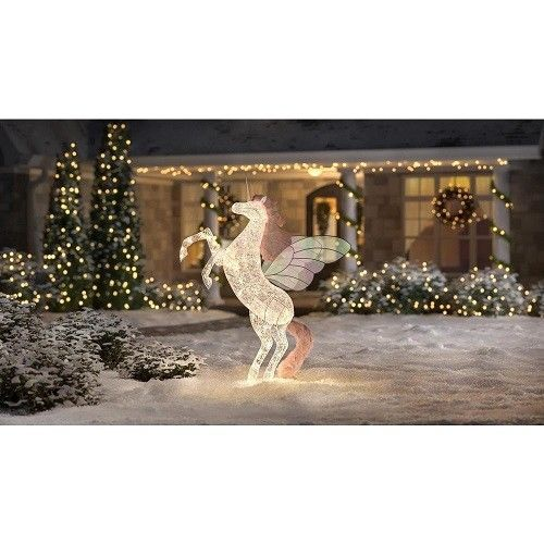 Unicorn Lawn Decoration Lighted 6 Ft Christmas Yard Display Holiday Kids Light