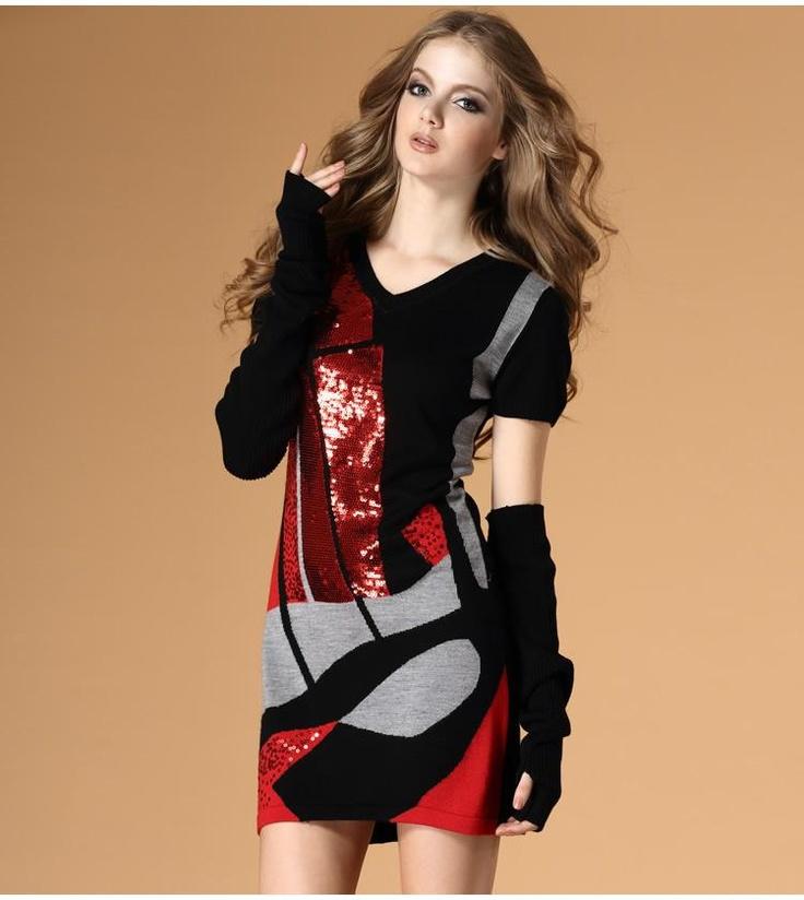 splicing sequined V-neck wool dress   $80.62