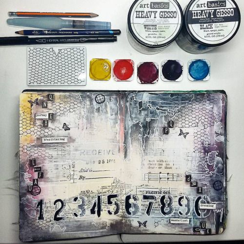 Art Journal Page - — Back to evening creating — **...