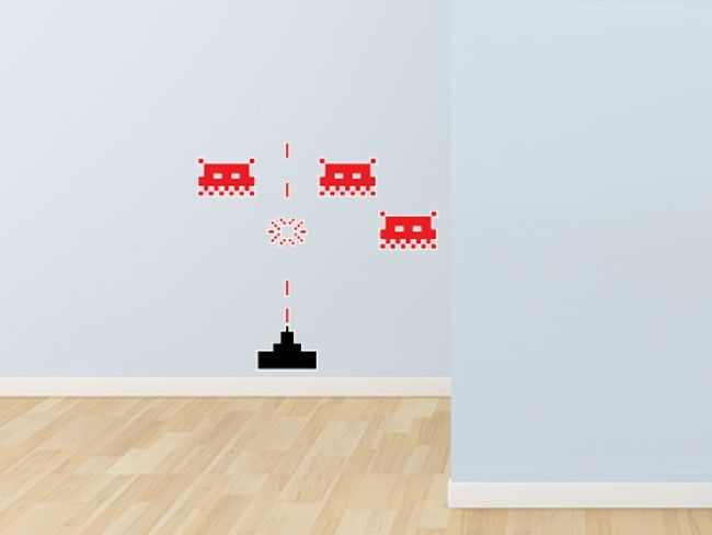 Small Space Invaders Wall Stickers Inspired by the classic 1980s arcade game, these Space Invaders wall stickers will appeal to the big kid in everyone! Now is the perfect time to relive your childhood days or invoke the nostalgia of a bygone era as the retro geek motif is at the height of fashion.
