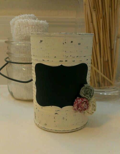 Recycled Painted Soup Can..... by FrenchieBoutique on Etsy, $7.00