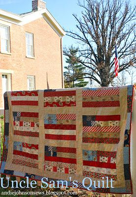 """1 jelly roll of American Banner Rose  1 1/4 yards of tan and white woven check {which is 54"""" wide}  1/2 yard of red small floral print {for the binding}"""