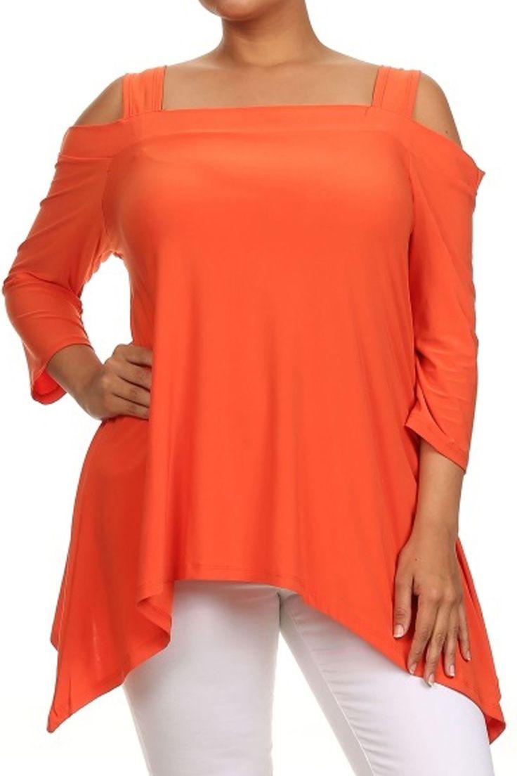 Avital Cold Shoulder Trapeze Top #fashionable #fashion #stylish #style #trendy #stylish #womensfashion #womens #modern #orange #bold #bright #coldshoulder #longsleeve #cute #pretty #casual #styleforless