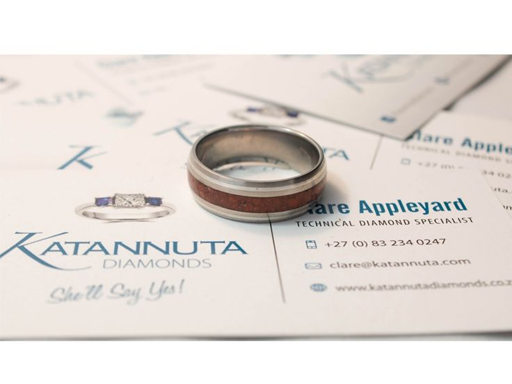 Our unique Njenjere titanium ring range is guaranteed to turn heads wherever this jewellery is worn. Elegant and stylish, this 8mm wide ring combines 0.5mm wide silver inlays with a 3mm wide gemstone inlay in a gently curved ring profile. Manufactured to order, this ring is available up to size Z +6 and is priced from R1,900, depending on ring size. Featuring crushed gemstones of your choice, the gem inlay can feature one colour gemstones, or a coloured mixture of gemstones.
